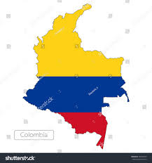 Colombia South America Map by Map Colombia Official Flag South America Stock Vector 300742559