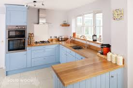 solid oak kitchen cabinets painted lulworth blue kitchen