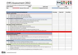 eyfs framework 2012 assessment sheet by tesearlyyears teaching