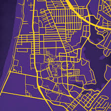 Uark Campus Map Louisiana State University Campus Map Art City Prints