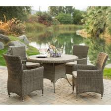 7 Piece Round Patio Dining Set by Outdoor Rattan Dining Furniture Sets