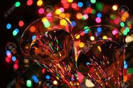 glasses sparkling wine festive lights celebrate