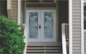 Frosted Glass Exterior Doors Etched Glass Front Entry Doors With Aquatic Themes