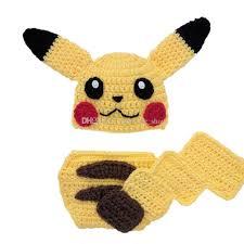 Diaper Halloween Costume 2017 Newborn Knit Yellow Pikachu Costume Handmade Crochet Baby Boy