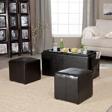 coffee table with four ottoman wedge stools coffee table hartley coffee table storage ottoman with tray side