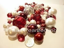 Vase With Pearls 95 Jumbo U0026 Assorted Sizes Burgundy Red Wine U0026 White Pearls U0026 Gems