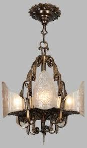 Deco Lighting Fixtures 1930s Vintage Gold Deco Cast Iron Metal Ceiling Light Fixture