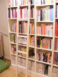 Wooden Ladder Bookcase by Small White Leaning Bookshelf With Ladder Aside Light Grey Sofa