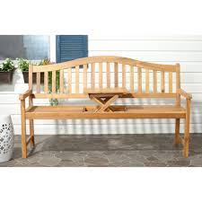 safavieh mischa natural brown acacia wood patio bench fox6703a