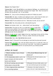 reading comprehension the fortune teller worksheet free esl