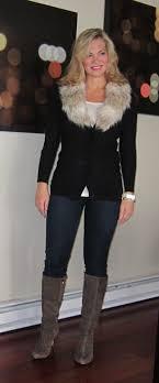 sweater with faux fur collar faux fur collar denim dots