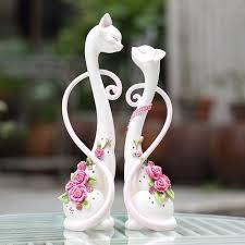 resin handmade creative animal figurines cat marriage