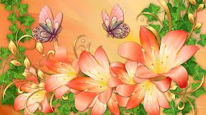 butterflies lilies flowers animals