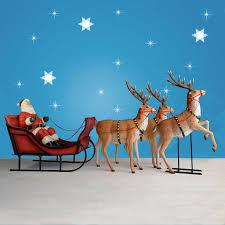 170 wide santa sleigh three reindeer set