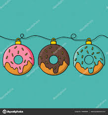 donuts decorations for christmas tree u2014 stock vector shekularaz