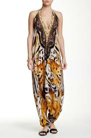 luxury embellished harem jumpsuit in tiger print shahida parides