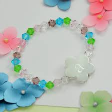 flower girl charm bracelet flower charm bracelet personalized with initial sincerity