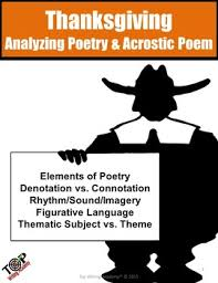 thanksgiving activities poetry analysis acrostic poem writing