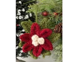 poinsettia ornament crochet brand yarn