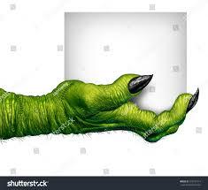 blank halloween background monster hand holding sign zombie fingers stock illustration