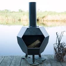 Chimney Style Fire Pit by A Sharp Geometric Shape Sets This Patio Chiminea Apart From The
