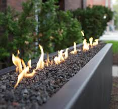 Linear Fire Pit by Winter Fire Pit Creative Boundaries