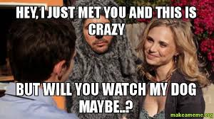 Wilfred Meme - hey i just met you and this is crazy but will you watch my dog