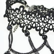 crystal lace necklace patterns images Soft black lace choker necklace with black crystal beads and pendants jpg