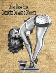 vintage pin up girl chocolate scale text funny collage she flickr