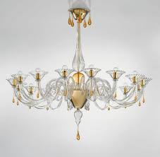 Amber Chandelier Modern Murano Chandelier Lighting Clear Glass And Gold Metal
