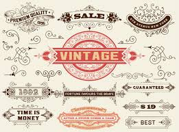 ornamental elements and labels vintage style vector 04 vector
