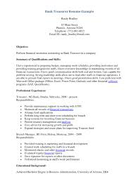 Sle Resume For A Banking teller skills city espora co