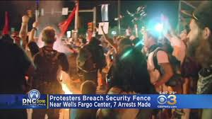 chaotic scene outside wells fargo center after protesters breach