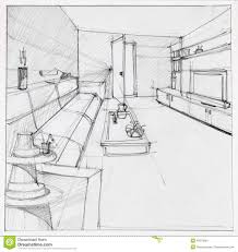 interior design living room drawings stock image in decorating