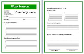 8 work schedule template free memo formats