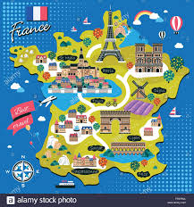 Carcassonne France Map by Attractive France Travel Map With Attractions In Flat Design Stock