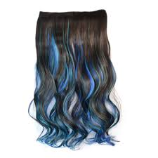 Color Hair Extension by 5 Cards Wig Piece Hair Extension Highlights Dark Brown Sky Blue
