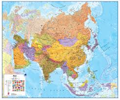wall maps wall map of asia large laminated political map