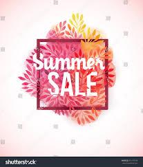summer sale watercolor flower decoration pink stock vector