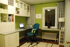 home office minimalist white shelves on the green wall home