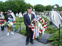wreath laying ceremony at korean war memorial