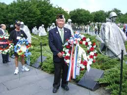 wreath laying ceremony at korean war memorial
