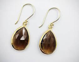 smoky quartz earrings smoky quartz earring etsy