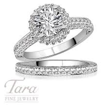 tacori wedding bands tacori wedding ring and band in 18k white gold 98 ct tw center