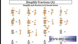 fraction reduction worksheet koogra