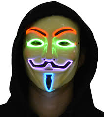 Light Up Halloween Costume by Jennis Light Up Led Mask V For Vendetta Anonymous Guy Fawkes