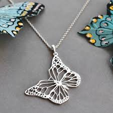 butterfly sterling silver necklace images Sterling silver monarch butterfly necklace by martha jackson jpg