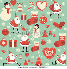 flat christmas wrapping paper flat design seamless icons elements texture stock vector 740183527
