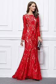 trumpet mermaid red lace long sleeve formal evening dresses