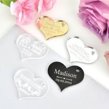 wedding gift tags engraved acrylic heart gift tags personalized favors